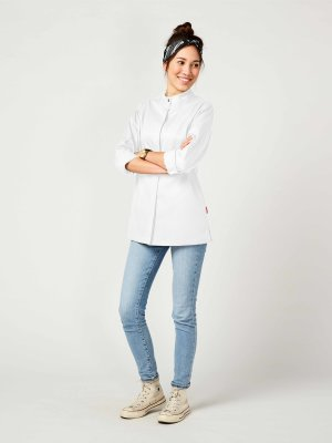 CO long sleeve chefs jacket women, ROHU M white
