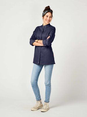 CO long sleeve chefs jacket women, ROHU M navy