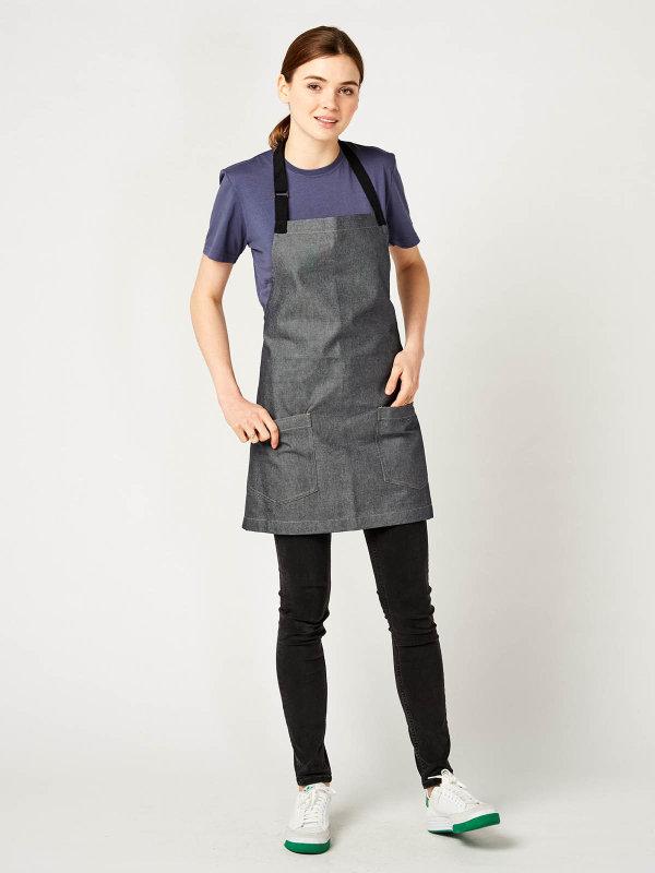 short denim bib apron, BERN