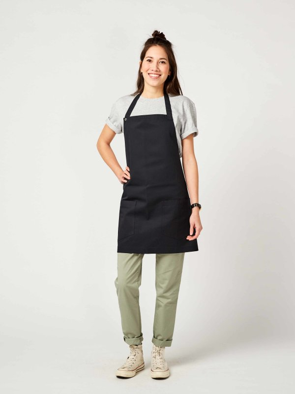 CO short bib apron, TUNA, black