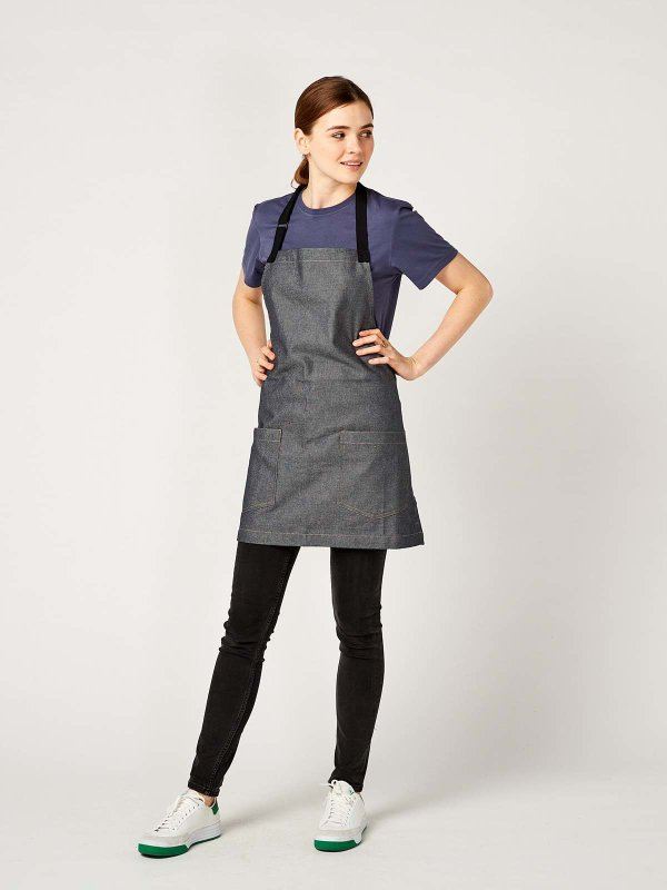 short denim bib apron, BERN, grey