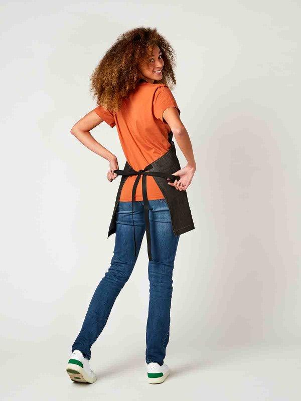 short denim bib apron, BERN, black