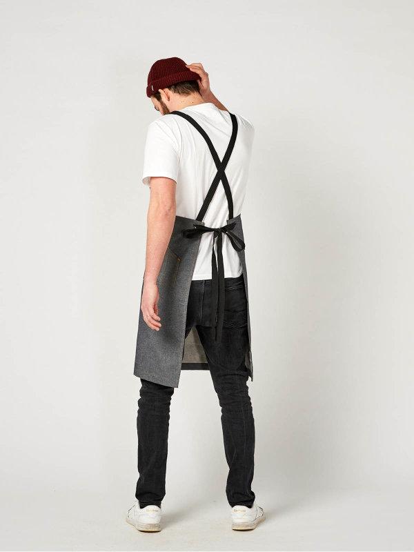 denim bib apron, THE BIG 1, grey