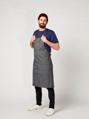 denim bib apron, THE BIG 2, grey