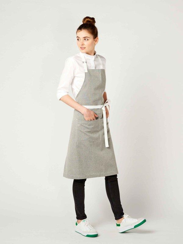 long bib apron, SALZ&PFEFFER grey melange
