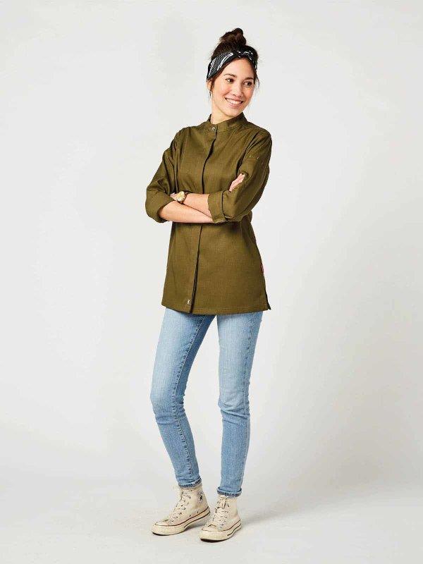 CO long sleeve chefs jacket women, ROHU, olive M