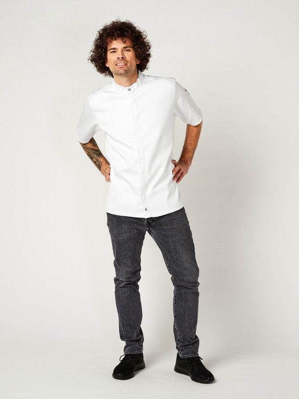 CO short sleeve chefs jacket OYSTER, white S