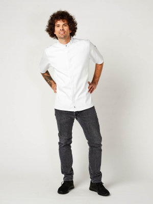 CO short sleeve chefs jacket OYSTER, white M