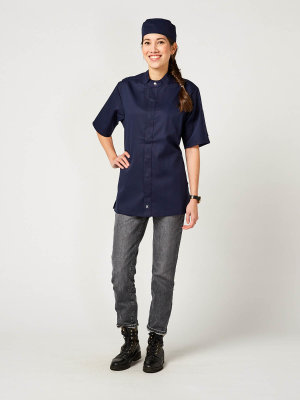 CO short sleeve chefs jacket OYSTER, navy M