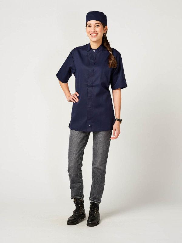 CO short sleeve chefs jacket OYSTER, navy 3XL