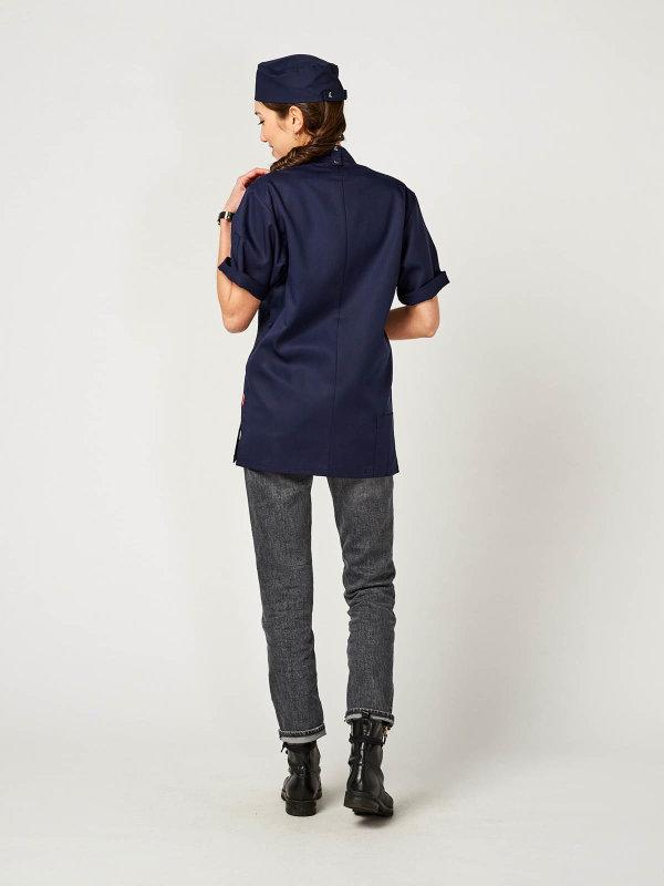 CO short sleeve chefs jacket OYSTER, navy 4XL