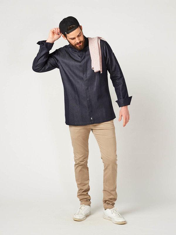 denim long sleeve chefs jacket MILANO, denim blue S