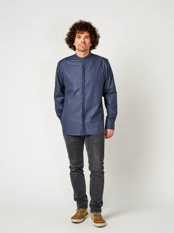 Servicehemd, BEVER greyblue M