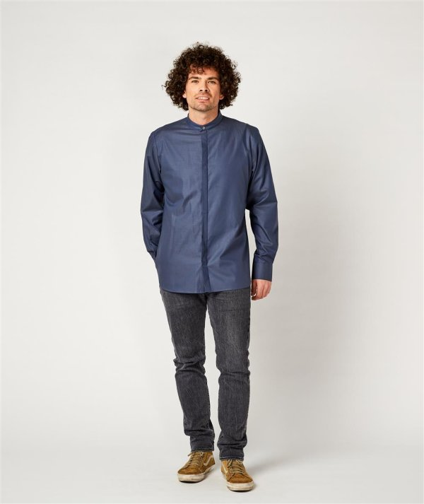 Servicehemd, BEVER greyblue L